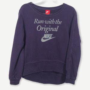 Nike Purple Cropped Pullover Hi-Low Sweatshirt M